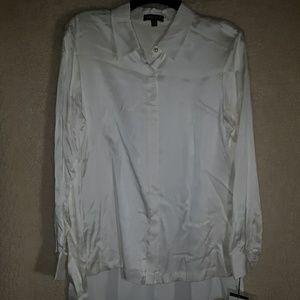 Etcetera fringed back silk blouse